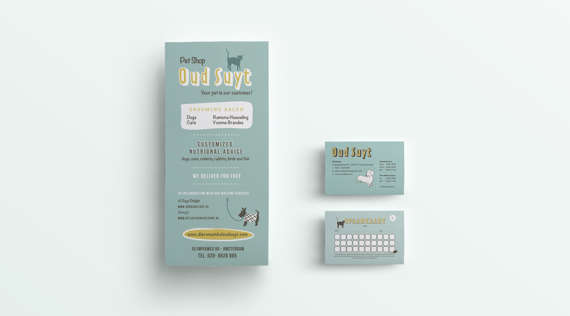 brand identity for pet shop Oud Suyt