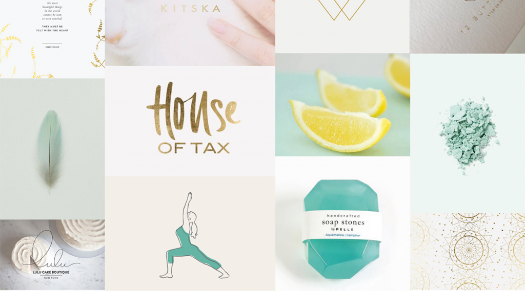 moodboard for online pilates school Kalm Pilates