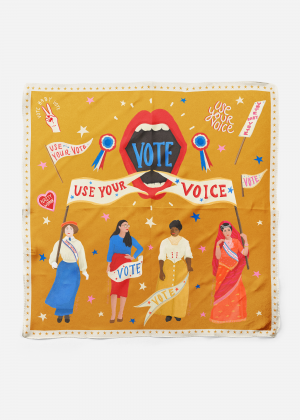 Use Your Vote scarf in gold